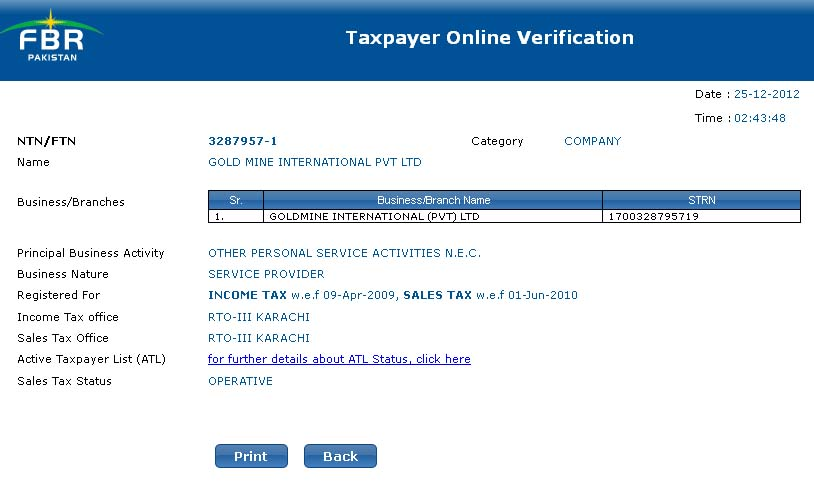 NTN Verification by Company Name