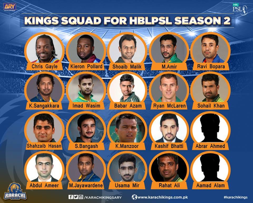 List of Karachi King Players in PSL 2017