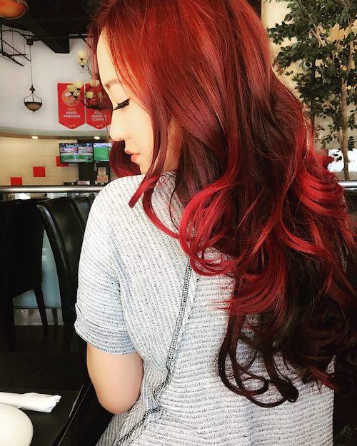 red velvet hair color for asian hair
