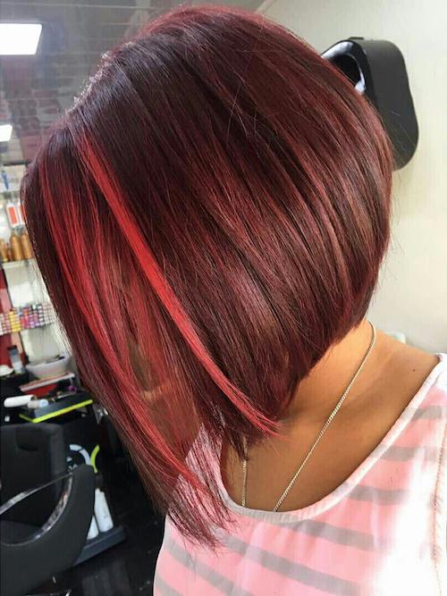 red velvet angled bob hairstyle