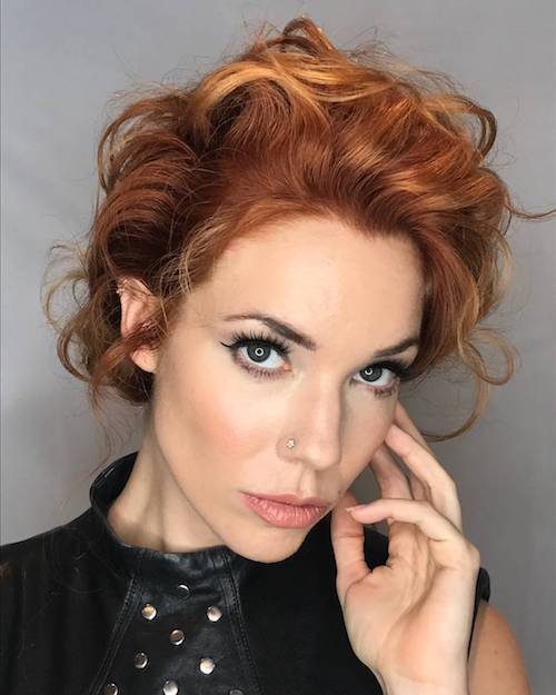 copper hair color with updo