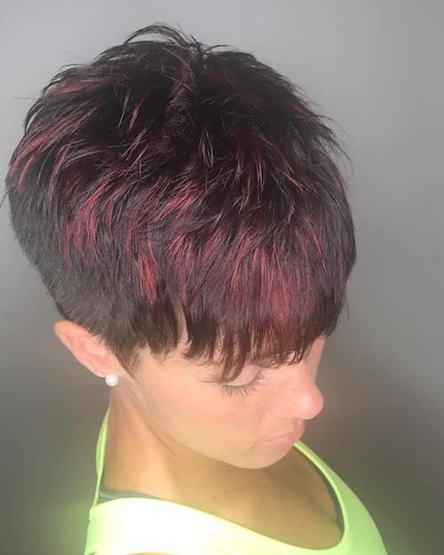 red velvet frosted pixie hair