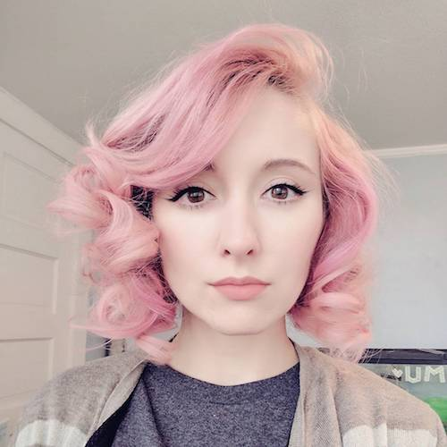 wavy pastel pink hair color