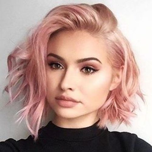 short messy rose gold hair color