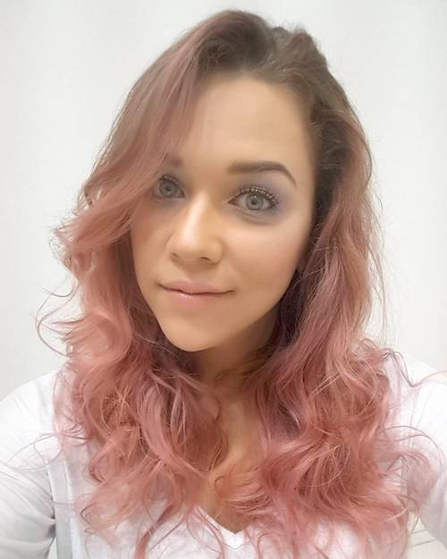 wavy rose gold hair color