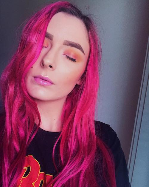 long neon pink hair color